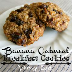 "Since my first three posts on my breakfast favorites (here, here, and here) were so popular, I wanted to share these amazing breakfast ""cookies"" that I've been making for the past couple of years.  Since I already had a portable savory recipe, I searched around for something sweet that I could take with me on the go.  I had a few requirements for these, since I like to start my day off as healthy as possible!  Now what happens by dinnertime is a different story...  Anyways, that"