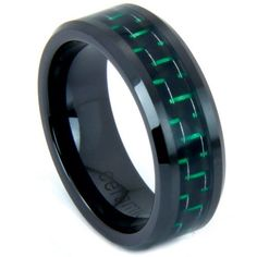 Green and Black Carbon Fiber Ring With Beveled Edges