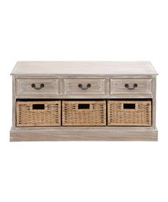 Another great find on #zulily! Distressed Wood Basket Three-Drawer Low Chest #zulilyfinds