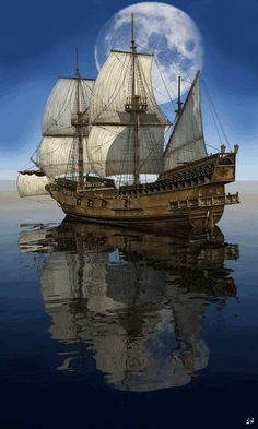Pirate ship reflection i love old ships like this! amazing tall ships and sailing Tall Ships, Moby Dick, Bateau Pirate, Old Sailing Ships, Beautiful Moon, Beautiful Life, Sail Away, Water Crafts, Lighthouse