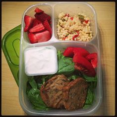 Zucchini cakes and couscous salad, packed in #EasyLunchboxes