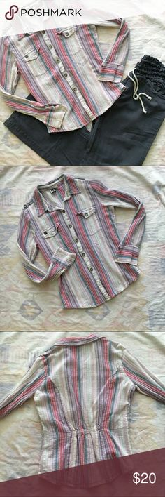 Cute Striped Linen Button Up/Down EUC. No rips, stains, stretched seams. Some of the buttons are missing the little metal ring that was around them (pic #4) but otherwise it's in excellent condition! Super cute with the navy blue linen pants I have listed. Bundle and save!  This listing is for the top only. Roxy Tops Button Down Shirts