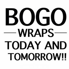 BOGO is back!  Today and tomorrow all boxes of wraps are BUY ONE GET ONE FREE! That's 8 wraps for $59!!! WOW!  Applies to all new loyal customer.  DM me to get this AMAZING DEAL! www.avivaw.itworks.com Bogo Wraps, Become A Distributor, It Works Products, How To Become, How To Get, Loyal Customer, Buy One Get One, Boxes, How To Apply