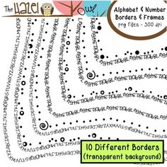 Alphabet & Number Borders & Frames Set: Graphics for Teachers - The Hazel Owl - TeachersPayTeachers.com