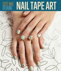 Cute Nail Designs   Easy Nail Tape Art