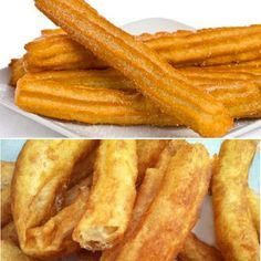 Churros and porras recipe - Divina Receta de churros y porras – Divina Cocina Here you have the recipes of churros and batons, tricks so that they come out well and some notes on the differences in the masses and the elaboration of both. Spanish Desserts, Spanish Dishes, Mexican Food Recipes, Sweet Recipes, Pan Dulce, Sweets Cake, Galette, Sweet Bread, Food And Drink