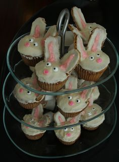 Bunny cupcakes! Vanilla cake mix for cupcake, butter/milk/powdered sugar frosting, heart sprinkle nose, eye candies, graham cracker ears (shaped with a knife) and marshmallow tail put in with a toothpick!
