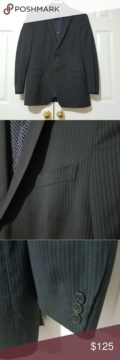 Z Zegna Black Pinstriped 42L Sports Coat Gently worn sports coat with no imperfections  found. Fits like and measures like a 42R.   ***SHIRT NOT INCLUDED***  Measurements taken while laying flat: Size: 42L Color: Black Material: 100% Wool Chest (Underarm to Underarm): 22.5 Waist: 20.5 Length (From Bottom of Collar): 31 Sleeves (Top of shoulder to end of cuff): 25.5 Shoulders (Seam to seam): 19 Vent: Double Z Zegna Suits & Blazers Sport Coats & Blazers