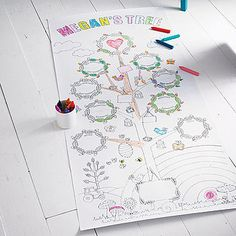 Personalised Colour In Family Tree Poster. Notonthehighstreet £10