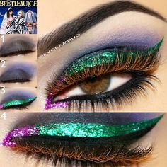 "Beetle Juice Pictorial Step1- @motivescosmetics Lid ""Onyx"" Step2- Crease ""Fantasy"" Step3- Glitter Liner- @shopvioletvoss ""Victoria"" ""Gabriella""  @motivescosmetics Luxe precision eye liner ""jet black"" Step4- Liner ""black""bottom lash line ""Onyx""  Lashes- @flutterlashesinc Top ""Kylie"" Bottom ""Tiffany"" Brows- @anastasiabeverlyhills ""Dark Brown"""