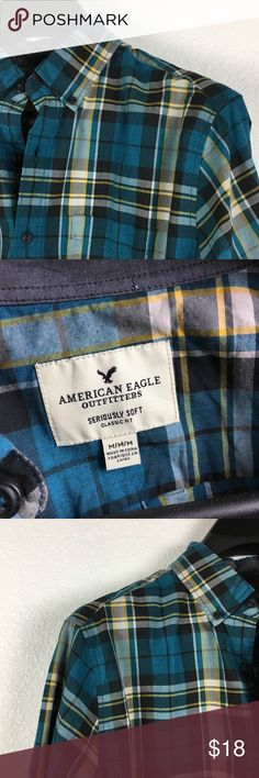 "American Eagle Seriously Soft Button Down This shirt is in excellent used condition. An attractive and trendy plaid shirt gives off the hipster vibes. This  AE ""Classic Fit"" shirt is size medium and is labeled ""seriously soft.""  A great casual shirt for a day trip or night out. American Eagle Outfitters Shirts Casual Button Down Shirts"