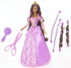 Barbie Cut And Style Rapunzel / African American. Grow Rapunzel doll's long hair back over and over again. Grow Barbie doll's hair as long as you wish. Included are pop-bead extensions. Girls can add waves and braids. Magical scissors to cut her hair and try out new styles.