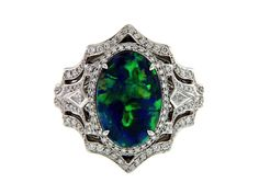 KAT FLORENCE Australian Lightening Ridge Black Opal Ring
