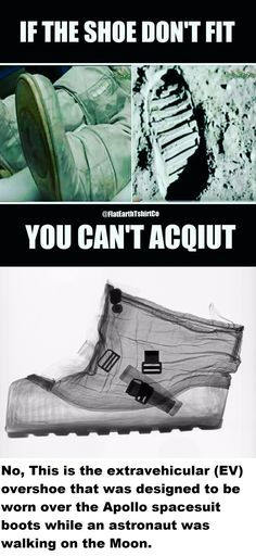 The outer insulated extravehicular (EV) overshoe (bottom photo) was designed to be worn over the Apollo spacesuit boot (top photo) while an astronaut was walking on the Moon can be found here -> https://airandspace.si.edu/multimedia-gallery/4857640jpg and http://www.snopes.com/moon-footprints/ #NASA #Itsflat #Follow
