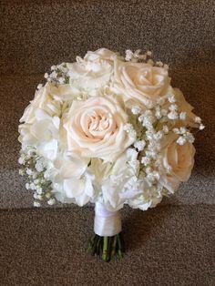 white hydrangea pink rose baby's breath bouquet - Google Search