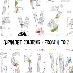 Alphabet coloring page adult coloring page children coloring