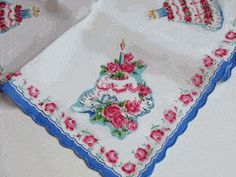 Festive Layer Cakes Vintage Style Cotton Hankie - Vintage Style Hankies - Roses And Teacups