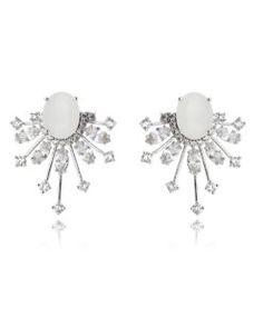 brinco de luxo com banho de rodio e zirconias cristais e branca candy semi joias da moda