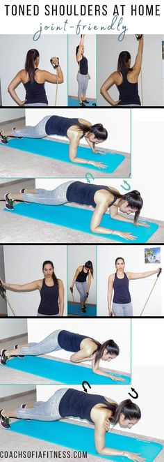 A home shoulder workout that requires no weights to build toned shoulders. This workout is easy on the shoulder joints and will leave your shoulders sore! Weight Lifting Motivation, Weight Lifting Workouts, Lower Ab Workouts, Fitness Motivation Pictures, Fit Girl Motivation, Easy Workouts, Weight Training, Toning Workouts, Exercises