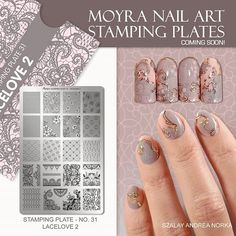 COMING SOON! Moyra Stamping Plate No. 31 Lacelove 2  #new #moyra #nailart #stamping #plate #lacelove2 #comingsoon Edge Nails, Floral Frames, Nailed It, Nail Techniques, Nailart, School Nails, Nail Art Stamping Plates, Nail Polish, Ideas Geniales