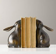 They're adorable and they're the perfect gift. #Bunny #Bookends - Set of 2 from Restoration Hardware #poachit