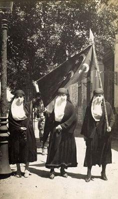 Egyptian Women Holding the Egyptian National Flag in the 1919 Revolution