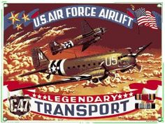 C-47 Transport Metal Sign