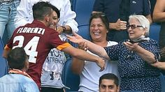 "Roma midfielder Alessandro Florenzi was booked for running into the stands to hug his 82-year-old grandmother after scoring in their 2-0 win over Cagliari in Serie A yesterday. According to Italian media, she was making her first visit to the Stadio Olimpico. ""I'll happily pay any fine for Florenzi,"" Roma coach Rudi Garcia told reporters. ""The hug was the sort of image that we want to see."" Got to appreciate the manager's support for the player here."