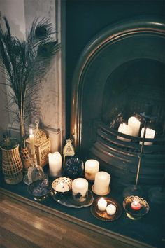 DigsDigs 30 Adorable Fireplace Candle Displays For Any Interior Digsdigs Home Interior, Interior And Exterior, Interior Design, Scandinavian Interior, Interior Paint, Room Inspiration, Interior Inspiration, Deco Paris, Candles In Fireplace