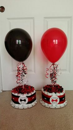 Red And Black Little Man Baby Shower Theme Diaper Cake