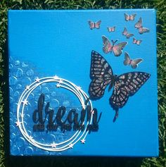 Dream mixed media canvas worth butterflies