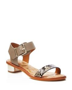 1831c9c5c836 Sam Edelman Trixie Snake-Embossed Low Heel Sandals Shoes - All Shoes -  Bloomingdale s