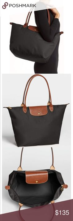 """longchamp • large le pliage tote in black condition: new with tags retail: $145 plus tax  * 12 ¼""""W x 11 ¾""""H x 7 ½""""D * 9"""" strap drop  A customer-favorite, water-resistant nylon tote is offered in a range of colors, each trimmed with embossed leather for classic contrast. * Top zip closure with outer snap tab. * Interior wall pocket. * Water-resistant lining. * Folds flat and snaps for storage. * Nylon with leather trim.  NO TRADES  trusted seller for years • ships quickly great feedback •…"""