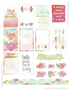 Free Watercolor Printable Planner Stickers