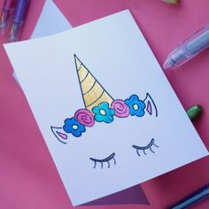 DIY Unicorn Doodle Card with Pentel POP gel pens. Sparkle gel pens are a must for your coloring pages, homemade cards, and journals. Pentel POP gel pens come in a variety of vivid colors that make writing, drawing and coloring fun. Pen Doodles, Flower Doodles, Doodle Flowers, Cute Easy Drawings, Colorful Drawings, Flower Drawings, Gel Pen Art, Gel Pens, Unicorn Drawing