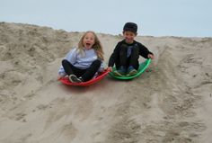 Sand Sledding: Winter Fun on the Sand Berms at Venice Beach