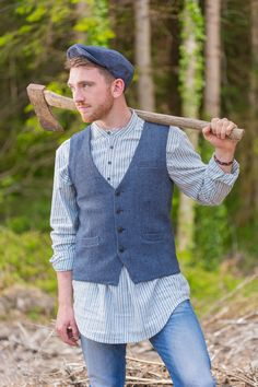 635f2e92 LV2 Blue Stripe Granddad Shirt with the Irish Tweed Vest by Lee Valley  Ireland #leevalleyireland