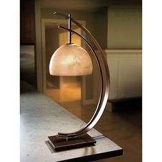 Half-Moon Lamp Curves soften the shape; frosted glass diffuses the light. Solid metal base has a dark bronze finish, with the edges rubbed to soft gold highlights. Half Moon Table, Half Table, Glass Texture, Glass Shades, Candle Shades, Home Lighting, Acacia, Home Accents, Decoration