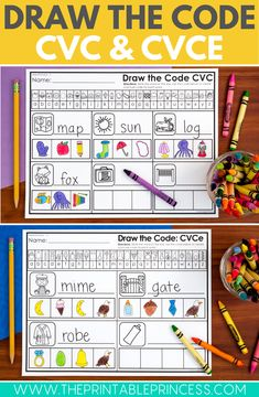Draw the Code CVC and CVCe Worksheet Bundle includes 75 no prep activity pages to help students learn to spell CVC and CVCe words. No prep!