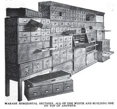 "OMG YES!  Wabash Cabinet Co. horizontal sections c. 1915. from the article: ""78 pieces in this line"""