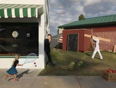 The American photographer Julie Blackmon has a unique way of portraying everyday life. Her works are rich in geometric shapes and details, stolen directly from Dutch and Flemish painters of about 400 years ago while in their setting and lighting they evoke the paintings of Edward Hopper.