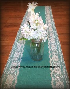 Rustic Wedding Teal Jade Turquoise Aqua Blue Burlap and White lace wedding table runner Shabby Chic wedding bridal shower party events