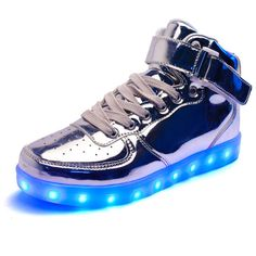 New Silver LED Light Lace Up Shoes Sportswear Sneaker Luminous Men's Size 10…