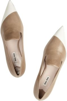++ Two-tone polished-leather loafers