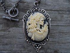 Gothic zombie skeleton lolita cameo necklace by toniatwoodland, $18.00
