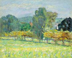 Pierre Bonnard / Paysage au clocher rouge. Circa 1921