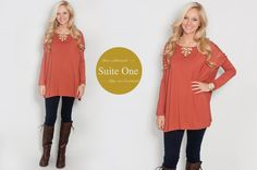 Burnt Orange / Pumpkin Spice Color Piko Top for fall with Boots
