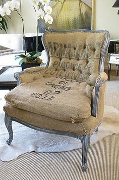 Nice Lorraine Chair with Burlap in sand beige linen and burnt