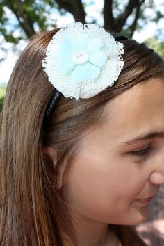 Light Blue and Lace Flower Headband