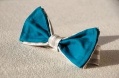 Boy Bow Tie White & Grey Check With Teal Elegant Wedding by morion, $20.00